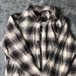 Grey White Striped Abercrombie M Flannel